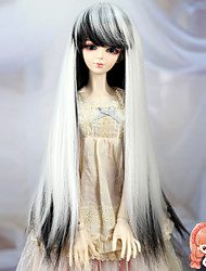 1/3 1/4 Bjd SD DZ MSD Doll Wig Accessories Long Straight Black and White Color Hair Wig Not for Human Adult