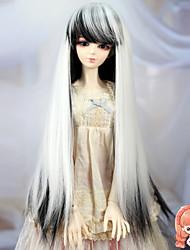 1/3 1/4 BJD sd dz msd Puppe Perücke Zubehör lange gerade schwarze und weiße Farbe Haarperücken nicht für den menschlichen Erwachsenen