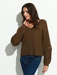 Normal Pullover Chic de Rue,Couleur Pleine Marron Col en V Manches Longues Polyester Hiver Fin Micro-élastique