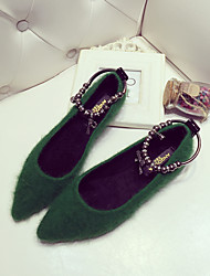 Women's Flats Fall Winter Comfort Fur Casual Black Green
