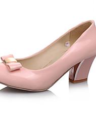 Damen-High Heels-Büro Lässig Kleid-Kunstleder-BlockabsatzSchwarz Rosa Mandelfarben