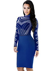 Women's Casual/Daily / Club Sexy / Street chic Hot Fix Rhinestone See-through Blouses Bodycon DressSolid Crew Neck Above Knee Long Sleeve