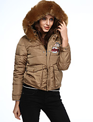 Women's Padded Coat,Simple Going out / Casual/Daily Solid-Polyester Polypropylene Long Sleeve Pink / Black / Brown / Gray