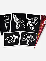 5 Pieces Small Henna Stencil 1 Piece Brown Henna Paste Flower Lace Pattern Body Art Paint Drawing Tattoo Stencil