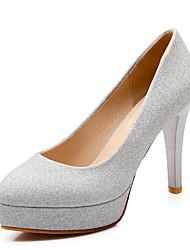 Damen-High Heels-Kleid Lässig-Kunstleder-Stöckelabsatz-Plateau-Gold Schwarz Silber Rot