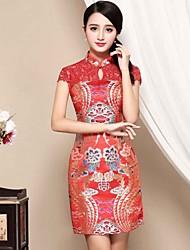 Feminino Bainha Vestido,Casual Temática Asiática Bordado Colarinho Chinês Acima do Joelho Manga Curta Vermelho Poliéster OutonoCintura
