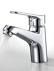 Contemporary Deck Mounted Ceramic Valve Single Handle One Hole Chrome Hot Cold Water Bathroom Sink Faucet