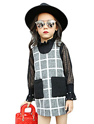 Girl's Casual/Daily Houndstooth Dress,Cotton Blend Spring / Fall Long Sleeve