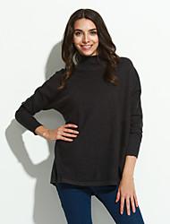 Normal Pullover Femme Décontracté / Quotidien / Vacances simple / Sophistiqué,Couleur Pleine / Pied-de-poule Rouge / Beige / Noir / Gris