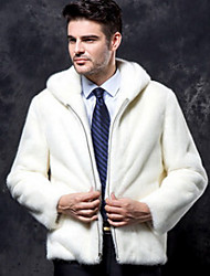 Men's Going out / Casual/Daily Vintage / Simple Fur Coat,Solid Hooded Long Sleeve Winter White / Black Faux Fur Medium