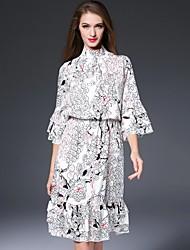 Dámské Čínské vzory Běžné/Denní Volné Šaty Květinový,Tříčtvrteční rukáv Rolák Midi Bílá Polyester Podzim Mid Rise Neelastické Střední