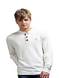 Trenduality® Masculino Colarinho Chinês Manga Comprida Camisa Branco - TD198