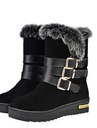 Women's Boots Winter Comfort Sheepskin Casual Flat Heel Black Gray