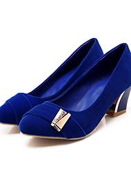 Feminino-Saltos-Sapatos com Bolsa Combinando-Salto Grosso-Preto / Azul / Vermelho-Courino-Escritório & Trabalho / Casual
