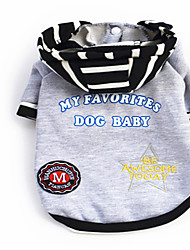 Dog Hoodie Black Gray Dog Clothes Winter Spring/Fall Letter & Number Casual/Daily Keep Warm