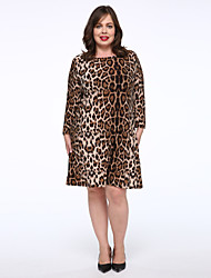 Women's Plus Size / Casual/Daily Simple Loose Dress,Leopard Round Neck Knee-length Long Sleeve Brown Cotton Fall Mid Rise Micro-elastic