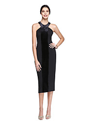 TS Couture® Cocktail Party Dress Sheath / Column Halter Tea-length Matte Satin / Velvet Chiffon