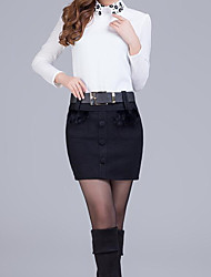 Women's A Line Solid Skirts,Casual/Daily Sexy Low Rise Above Knee Zipper Polyester Micro-elastic Spring