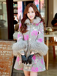 DABUWAWA® Women's Going out / Casual/Daily / Holiday Boho / Cute / Sophisticated CoatPatchwork / Jacquard Hooded  Sleeve Fall / Winter Gray Wool