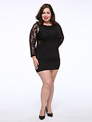 Women's Plus Size Lace Back Bodycon Mini Dress