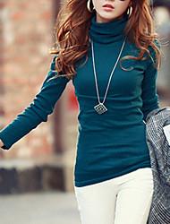 T-shirt Da donna Per uscire / Casual / Taglie forti Semplice / Moda città Autunno / Inverno,Tinta unita A collo alto Cotone / Poliestere