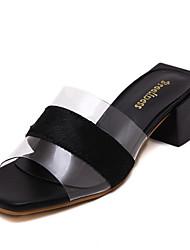Women's Slippers & Flip-Flops Summer Slingback PU Casual Black / White