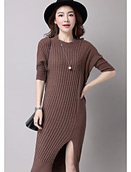 Women's Casual/Daily Active Sweater Dress,Solid Round Neck Knee-length ¾ Sleeve Brown / Gray / Purple Polyester Fall / Winter Mid Rise