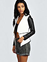 Damen Patchwork Einfach Lässig/Alltäglich Jacke,Herbst Kapuze Langarm Weiß Mittel PU