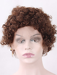 High Quality Dark Blonde Afro Kinky Curly Half Hand Tied Hair Heat Resistant Glueless Synthetic Lace Front Wigs