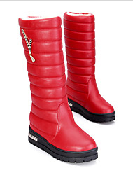 Women's Boots Winter Comfort Leatherette Casual Flat Heel Black Red