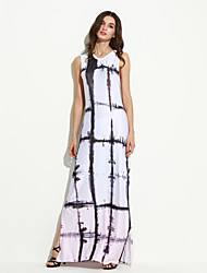 Women's Party Vintage Sheath Dress,Print Round Neck Maxi Sleeveless White Polyester Summer
