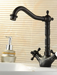 Traditional Bar/­Prep Deck Mounted Rotatable with  Ceramic Valve Two Handles One Hole for  Oil-rubbed Bronze , Kitchen faucet