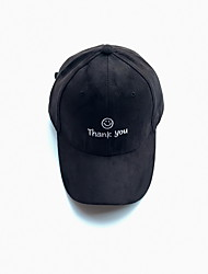 Thank you smiling face letters embroidery Faux suede baseball cap Bend brim hat Breathable / Comfortable  BaseballSports
