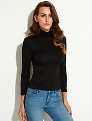 Sexy / Informell / Business Hochkragen - Langarm - FRAUEN - T-Shirts ( Baumwolle )