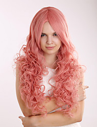460G Sexy Fashion Puffy Synthetic Pink Wig Blonde Ladies Long Curly Wig Cosplay for Costume Party