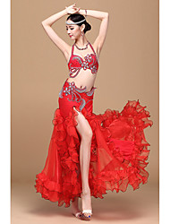 Belly Dance Outfits Women's Performance Polyester / Elastic Woven Satin Cascading Ruffle / Crystals/Rhinestones / Ruched 3 Pieces