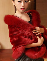 Women Faux Fur Scarf,Party TriangleSolid
