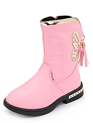 Girl's Boots Spring Summer Fall Winter Comfort Leather Outdoor Casual Athletic Low Heel Lace-up Black Pink Red Walking