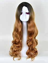Excellent Highlight Craft Body Wave Synthetic Wig with Dark Root Fashion Black to Brown Daily Ombre Hair High Temperature Fabric