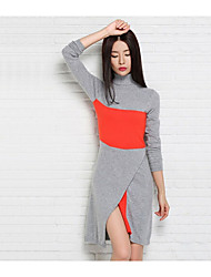 Women's Casual/Daily Simple Regular Pullover,Color Block Blue / Gray Turtleneck Long Sleeve Cashmere / Cotton Fall / Winter Medium