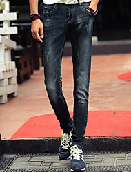 Men's Skinny Jeans Pants,Casual/Daily Simple Solid Mid Rise Zipper Cotton / Spandex Micro-elastic Fall / Winter