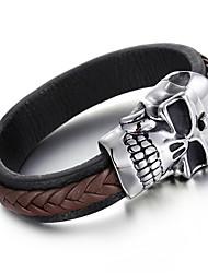 Kalen Men's Woven Leather Bracelet Punk 316 Stainless Steel Huge Skull Charm Bracelet Bangle Rock Jewelry Male Accessory