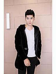 Masculino Casaco de Pêlo Casual Simples Inverno,Sólido Preto Pêlo Sintético Com Capuz-Manga Longa Média
