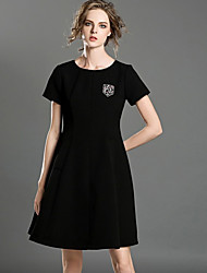 INPLUS LADY Women's Casual/Daily Simple A Line DressSolid Round Neck Above Knee Short Sleeve Black Others Summer High Rise Micro-elastic Medium