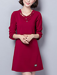 Women's Plus Size / Slim chic Loose DressSolid Round Neck Above Knee Long Sleeve Red / Black Polyester Winter Mid Rise