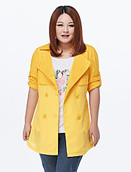 MsShe Women's Plus Size / Casual/Daily Simple Trench CoatSolid V Neck Long Sleeve Fall / Winter Blue / Yellow Cotton / Polyester / Nylon Medium