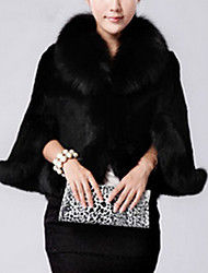 Women's Going out Sexy Cloak/Capes,Solid V Neck Long Sleeve Winter White / Black Faux Fur Thick