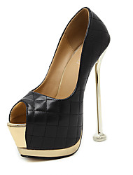 Women's Heels Summer Platform Leatherette Dress Stiletto Heel Black White
