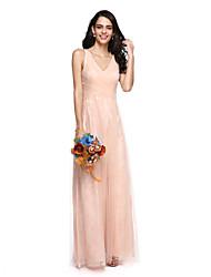 Lanting Bride® Floor-length Lace / Tulle Elegant Bridesmaid Dress - Sheath / Column V-neck with Criss Cross / Ruching