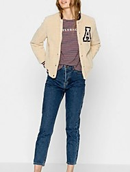 Women's Going out / Casual/Daily Simple / Cute Jackets,Embroidered Crew Neck Long Sleeve Fall / Winter Yellow Lamb Fur Medium